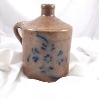 Salt Glazed Pottery Jug Brown blue Great Smokey mountains handcrafted farmhouse