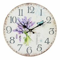Vintage Wanduhr Lavendel Uhr Ø 28cm Küchenuhr Holzfaser Creme Shabby