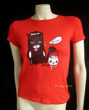 EMILY THE STRANGE Red TRICK or Treat Cat Pumpkin Costume T-Shirt Top Emo Goth