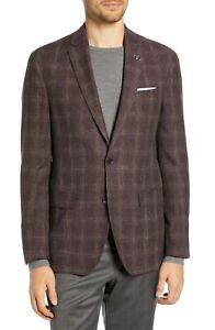 BNWT Ted Baker London Konan Windowpane Wool Blend Sport Coat Size 44L MSRP $598!