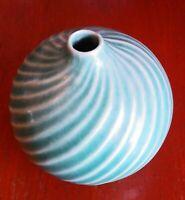 20th Century Studio Pottery Small Green Glaze Spiral Vase