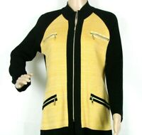Exclusively Misook Womens Zip Up Cardigan Sweater Small Black Yellow Jacket