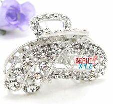 New woman metal silver white bling paisley hair claw clip medium thick hair B89