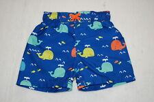 Baby Boys Swim Trunks Dk Blue w/ Whales & Fish Orange Green Aqua Size 18 Mo