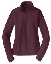 NWT Sport Tek Ladies Large Sport Wick Stretch 1/2 Zip Pullover Shirt in Maroon