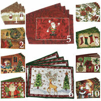 Tache 4 PC Festive Winter Holiday Christmas Xmas Woven Placemats Table Linen