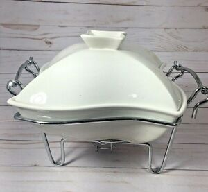 Siena Godinger Ceramic Covered Baker Dish with Warmer Stand 1 QT #6322 NIB
