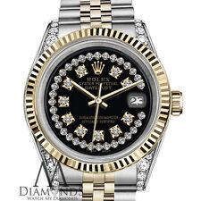 Woman's Rolex 26mm Datejust 2 Tone Black String Diamond Accent Dial SP Watch