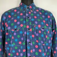 Vintage 80s Ruddock Bros Blue Chambray Polka Dot Button Down Western Shirt Sz M