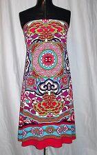 Women's (Size S) NICOLE Multi-Color Floral Design Strapless Mid-Thigh Dress