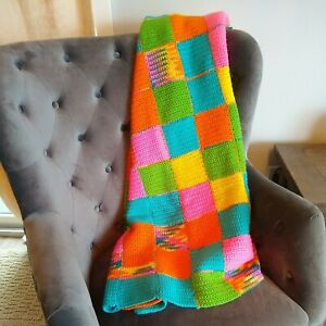 "Hand Crochet Afghan Throw hipster Blanket Bright Neon pink Blue 60x72"" squares"