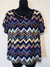 c9450ac3ecc26 Maitai Blouse Top Zig Zag Striped Multi Color Womens Size Medium