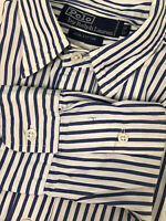 Polo Ralph Lauren M Pinstripe Men's Shirt 15-32 Collar Long Sleeve 100% Cotton