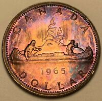 1965 CANADA SILVER DOLLAR PROOF FLAWLESS INTENSE PURPLE TONED BU COLOR UNC (DR)