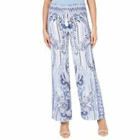 INC Women's White Multi Printed Drawstring Pull On Wide-leg Palazzo Pants L TEDO