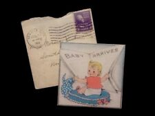 c1939 'Baby Arrives', Birth Announcement With Orig. Env.,Vintage Greeting Card