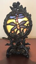 Tiffany Style Stained Glass Dragonfly Accent Lamp.