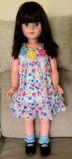 """Cute Large Vintage Eegee 31"""" Plastic Doll Black Hair, Redressed In Cute Outfit"""