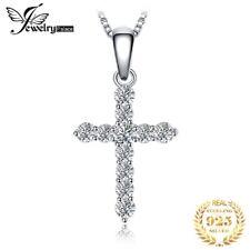 Damen Halskette Kreuz 925er Sterling Silber Zirkonia Anhänger Schmuck Frauen