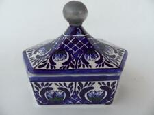 BMT MEXICO BLUE WHITE GREEN MEXICAN POTTERY LIDDED SQUAT HEXAGON PEWTER TOP BOX