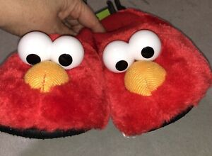 Sesame Street Elmo Sock Top Puppet Slippers Toddlers Size 9-10 Padded Fuzzy New