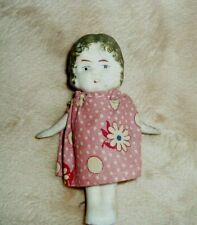 "Vintage Miniature Bisque Little Girl Doll 3 1/2"" tall-jointed arms"
