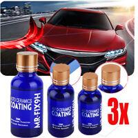 3x 9H Car Super Hydrophobic Glass Coating Liquid Ceramic Coat Auto Paint Care