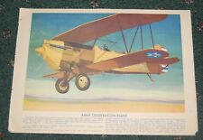 1930s vitange Color Air Plane Print Army Observation Plane / Boeing Flying Boat