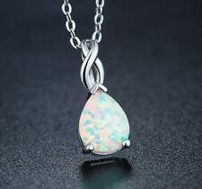 Gorgeous Pear Shaped Fire Opal Platinum Filled Necklace Pendants With Free Chain
