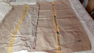 RARE Lot de 2 grand sac la poste en toile de jute  Dim. 106 x 63 et 116 x 74