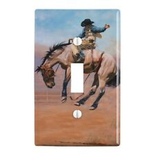 Saddle Bronc Horse Cowboy Riding Rodeo Event Wall Light Switch Plate Cover