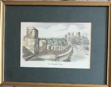Vintage Hand Coloured Print by Mary Almond The City Wall View of York