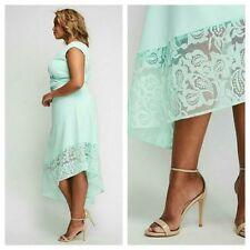 New LANE BRYANT Mint Asymmetrical Lace Hem Dress CHRISTIAN SIRIANO Plus 16W = 1X