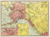 MAP ANTIQUE 1901 CRAM ALASKA NORTH WEST CANADA LARGE REPRO POSTER PRINT PAM2008