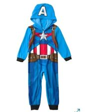 Captain America Avengers One Piece Sleeper big boys pajamas sz 12 Marvel pjs