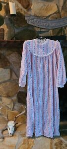 Vintage Lanz of Salzburg Nightgown Sz.L Cotton Flannel Full Length Long Sleeve