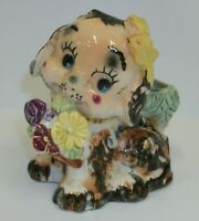 Vintage Japan Whimsical Puppy Dog with Pansies Flower Planter Vase