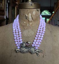 Heidi Daus 3 Strand PINK HONEY BUNNY Crystal Collar Necklace