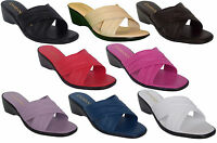 Italian Shoemakers Damiani's 168 Women Cross Band Double Strap Wedge Sandal