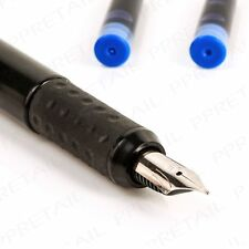 Fountain Pen Black Medium Writing NIB Pens Blue-Ink + 2 Free Cartridge