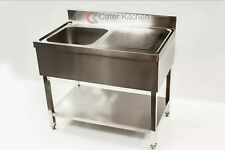 More details for stainless steel right hand drainer commercial restaurant catering sink 1000mm