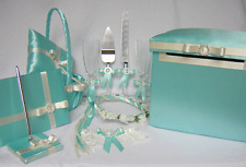 Pool Aqua Blue Ivory Flower Girl Basket Ring Pillow Halo Guest Book Pen Car Box