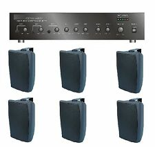 STORE/SALON/RESTAURANT BUSINESS BACKGROUND MUSIC SOUND SYSTEM AMP, 6 SPEAKERS +