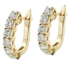 2.40 CT TW Large Diamond Hoop Earrings in 14k Yellow Gold G-H SI1-SI2 New