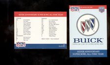 1990 Pro Set Buick CHECKLIST HEADER All-Time Super Bowl Team Card