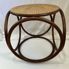 Bentwood Caned Seat Cube Footstool Ottoman Table Thonet Style MCM Rattan Wicker