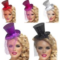 Mini Glitter Top Hat Veil Clip  Ladies Burlesque Hen Night Fancy Dress