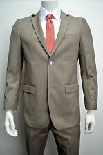Men's Taupe Herringbone Striped 2 Button Slim Fit Suit SIZE 40R NEW