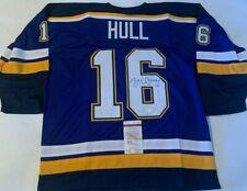 Brett Hull Autographed St Louis Blues Blue Jersey 1 JSA Witnessed COA