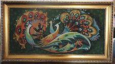 """Antique / Vintage Huge 45"""" x 25"""" Hand Made Fine Beaded Wall Tapestry Retro 70s"""
